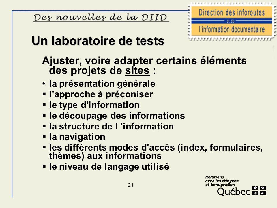 24 Un laboratoire de tests Ajuster, voire adapter certains éléments des projets de sites : la présentation générale l'approche à préconiser le type d'