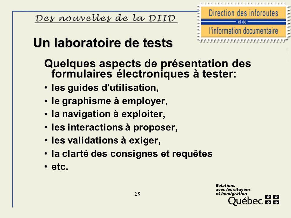 25 Un laboratoire de tests Quelques aspects de présentation des formulaires électroniques à tester: les guides d'utilisation, le graphisme à employer,