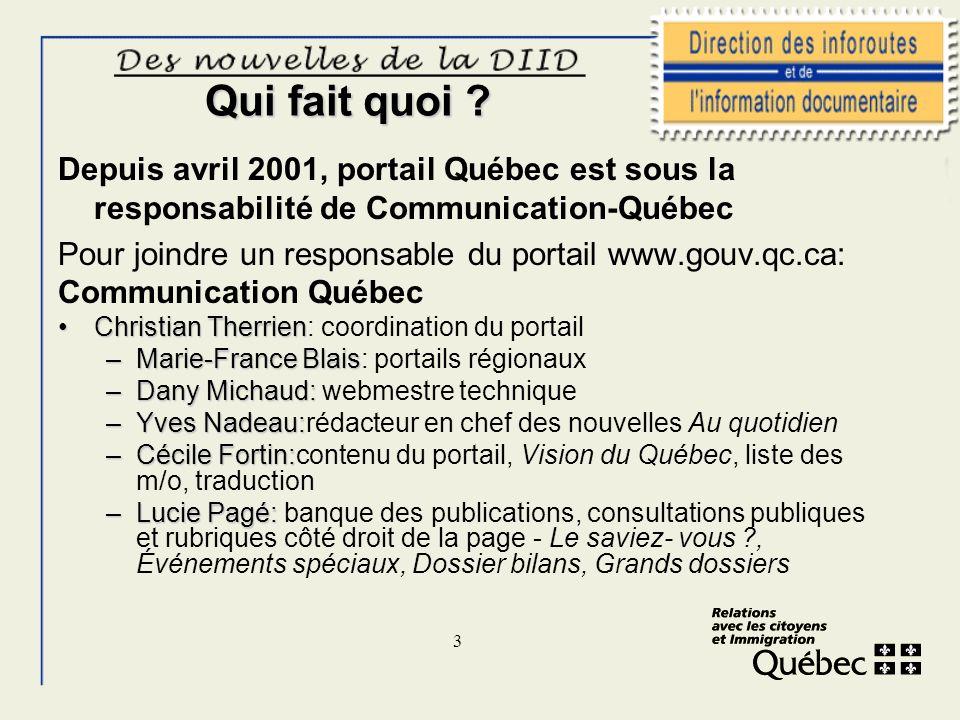 3 Qui fait quoi ? Depuis avril 2001, portail Québec est sous la responsabilité de Communication-Québec Pour joindre un responsable du portail www.gouv