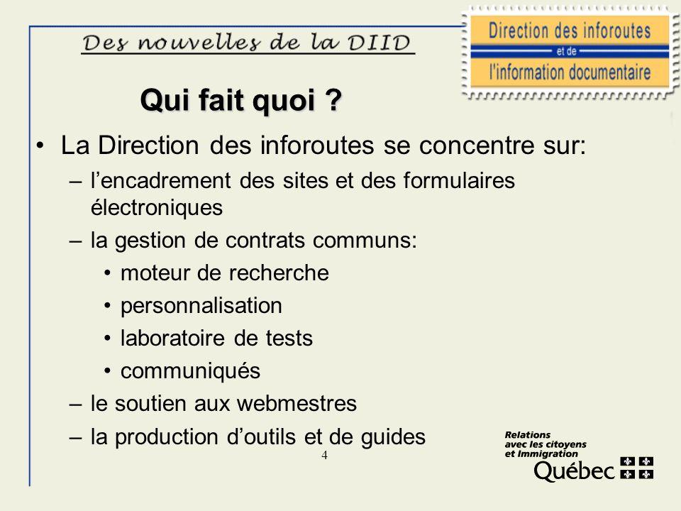 4 Qui fait quoi ? La Direction des inforoutes se concentre sur: –lencadrement des sites et des formulaires électroniques –la gestion de contrats commu