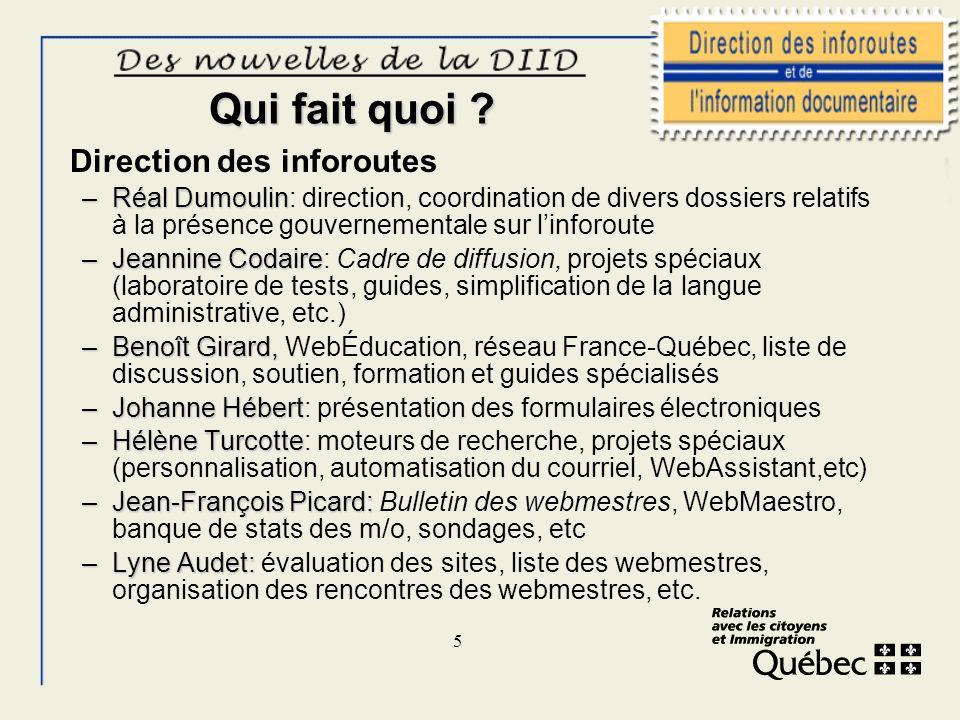 5 Qui fait quoi ? Direction des inforoutes –Réal Dumoulin –Réal Dumoulin: direction, coordination de divers dossiers relatifs à la présence gouverneme