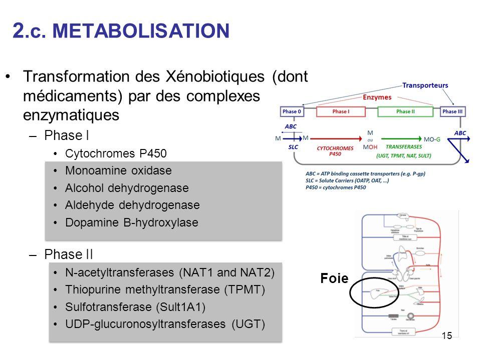 2.c. METABOLISATION Transformation des Xénobiotiques (dont médicaments) par des complexes enzymatiques –Phase I Cytochromes P450 Monoamine oxidase Alc