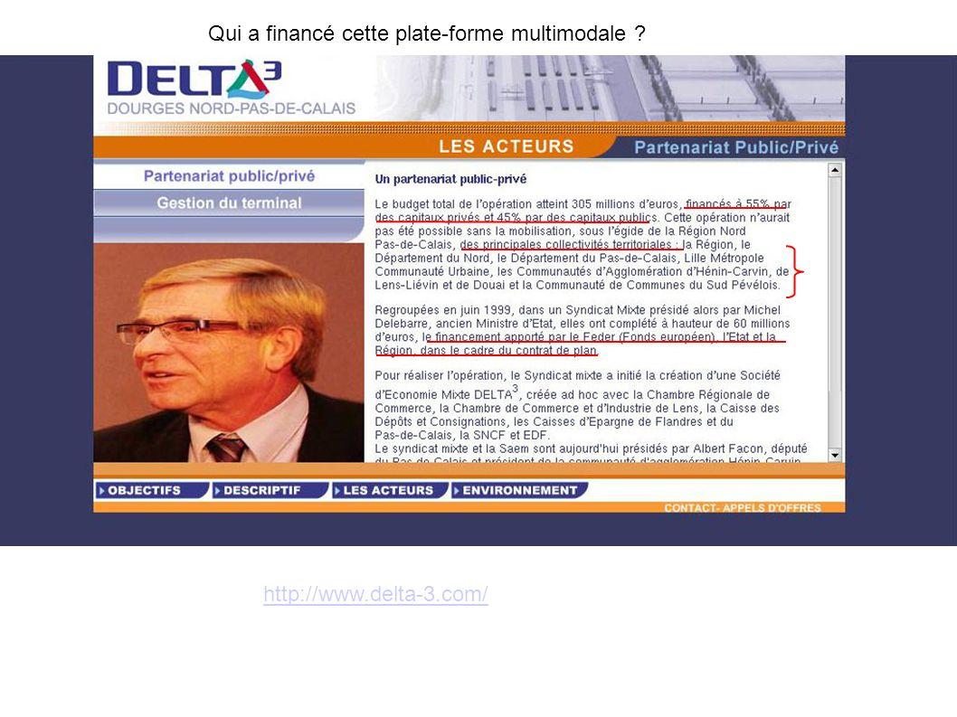 Qui a financé cette plate-forme multimodale ? http://www.delta-3.com/