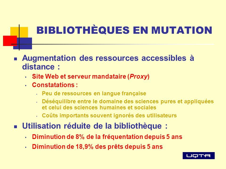 BIBLIOTHÈQUES EN MUTATION Augmentation des ressources accessibles à distance : Site Web et serveur mandataire (Proxy) Constatations : Peu de ressource