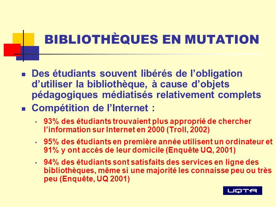 BIBLIOTHÈQUES EN MUTATION Des étudiants souvent libérés de lobligation dutiliser la bibliothèque, à cause dobjets pédagogiques médiatisés relativement