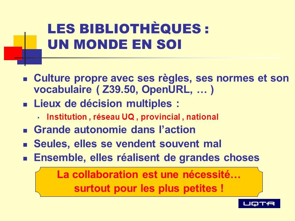 LES BIBLIOTHÈQUES : UN MONDE EN SOI Culture propre avec ses règles, ses normes et son vocabulaire ( Z39.50, OpenURL, … ) Lieux de décision multiples :