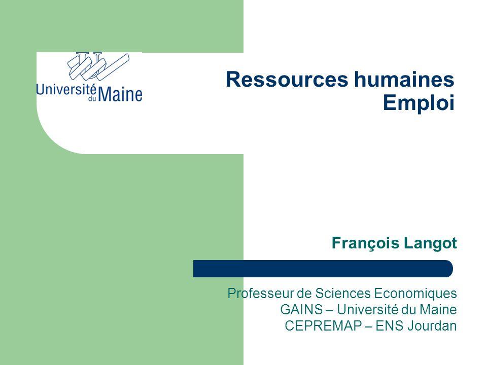Ressources humaines Emploi François Langot Professeur de Sciences Economiques GAINS – Université du Maine CEPREMAP – ENS Jourdan