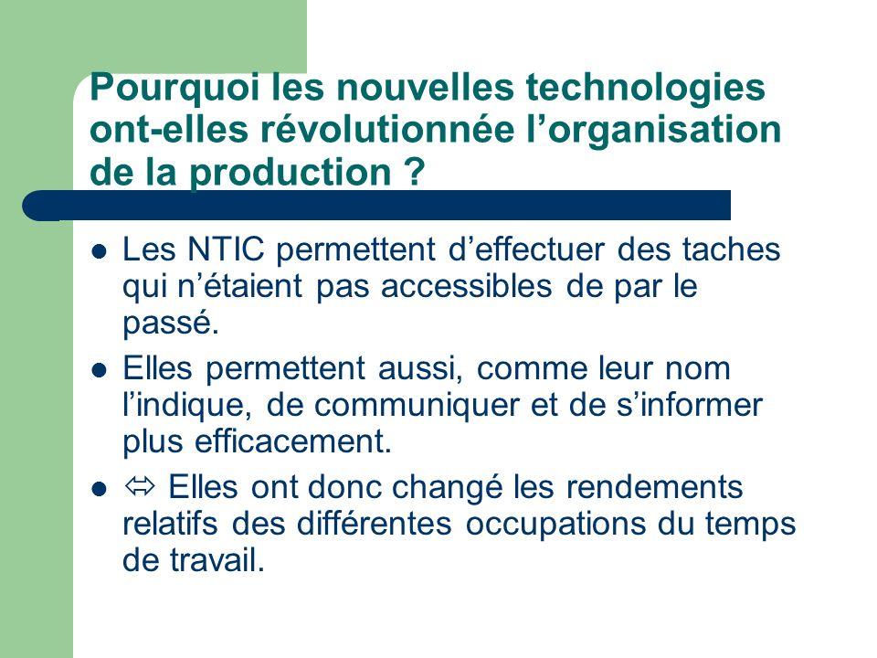 Pourquoi les nouvelles technologies ont-elles révolutionnée lorganisation de la production ? Les NTIC permettent deffectuer des taches qui nétaient pa