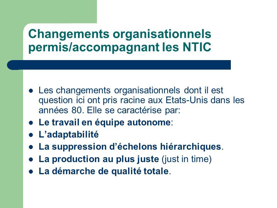 Changements organisationnels permis/accompagnant les NTIC Les changements organisationnels dont il est question ici ont pris racine aux Etats-Unis dan
