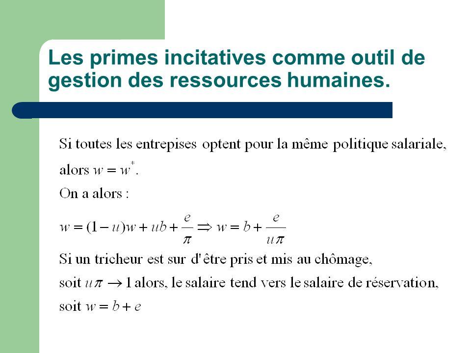 Les primes incitatives comme outil de gestion des ressources humaines.