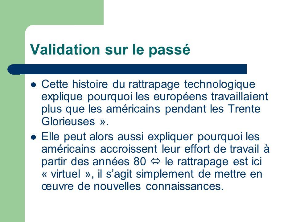 Validation sur le passé Cette histoire du rattrapage technologique explique pourquoi les européens travaillaient plus que les américains pendant les T