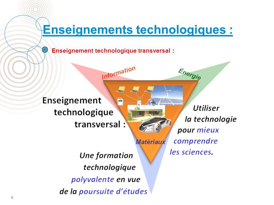 5 Enseignement technologique transversal : Enseignements technologiques : 5