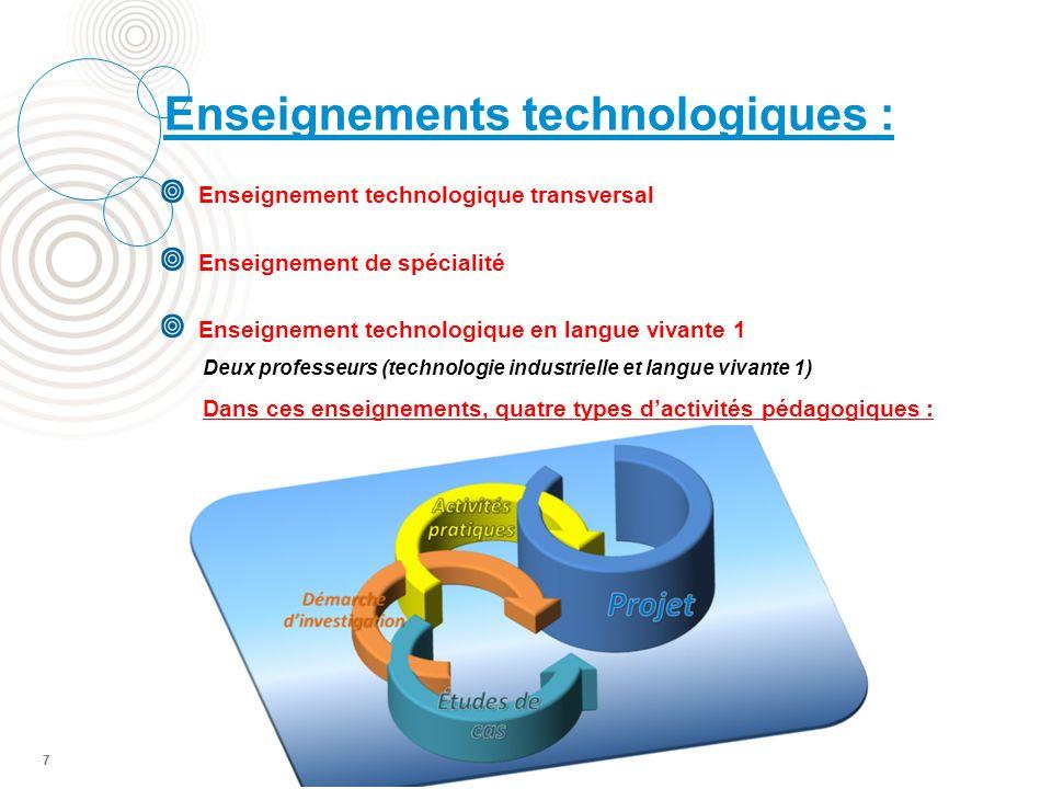 7 Enseignement technologique transversal Enseignement de spécialité Enseignement technologique en langue vivante 1 Deux professeurs (technologie industrielle et langue vivante 1) Dans ces enseignements, quatre types dactivités pédagogiques : Enseignements technologiques : 7