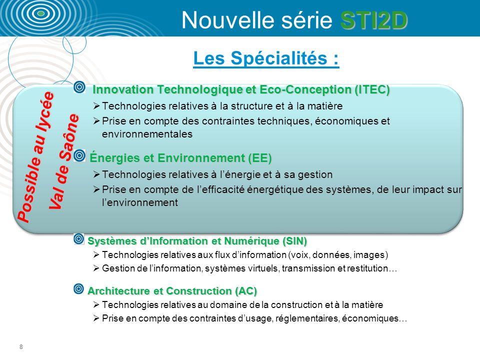 8 Les Spécialités : Possible au lycée Val de Saône Innovation Technologique et Eco-Conception (ITEC) Technologies relatives à la structure et à la matière Prise en compte des contraintes techniques, économiques et environnementales Énergies et Environnement (EE) Énergies et Environnement (EE) Technologies relatives à lénergie et à sa gestion Prise en compte de lefficacité énergétique des systèmes, de leur impact sur lenvironnement Systèmes dInformation et Numérique (SIN) Systèmes dInformation et Numérique (SIN) Technologies relatives aux flux dinformation (voix, données, images) Gestion de linformation, systèmes virtuels, transmission et restitution… Architecture et Construction (AC) Technologies relatives au domaine de la construction et à la matière Prise en compte des contraintes dusage, réglementaires, économiques… STI2D Nouvelle série STI2D