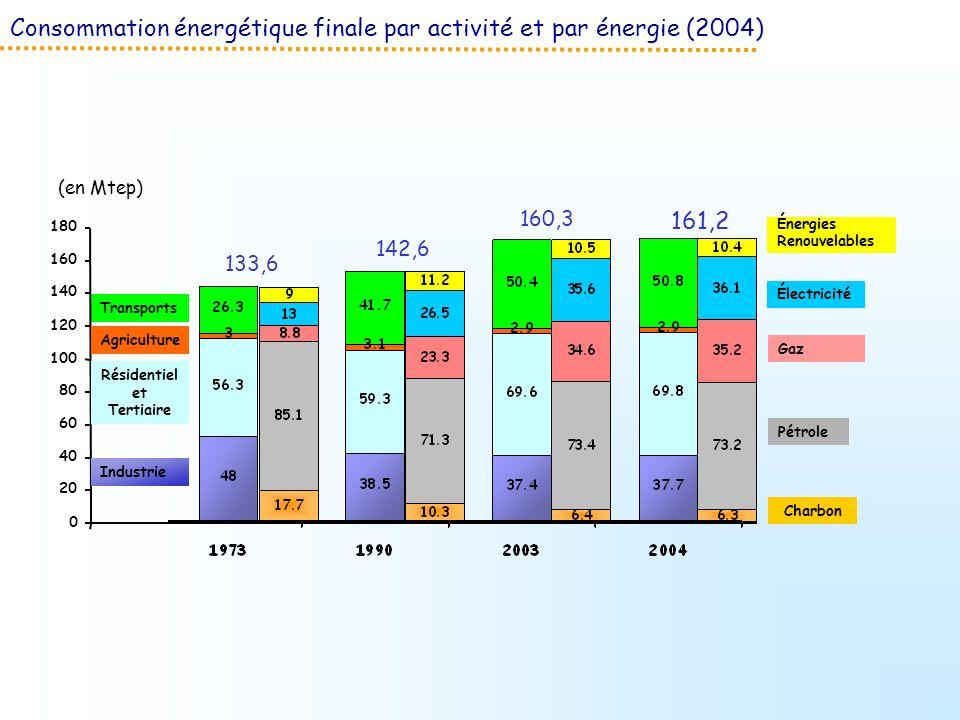 Consommation énergétique finale par activité et par énergie (2004) (en Mtep) Énergies Renouvelables Électricité Gaz Pétrole Charbon 133,6 142,6 160,3