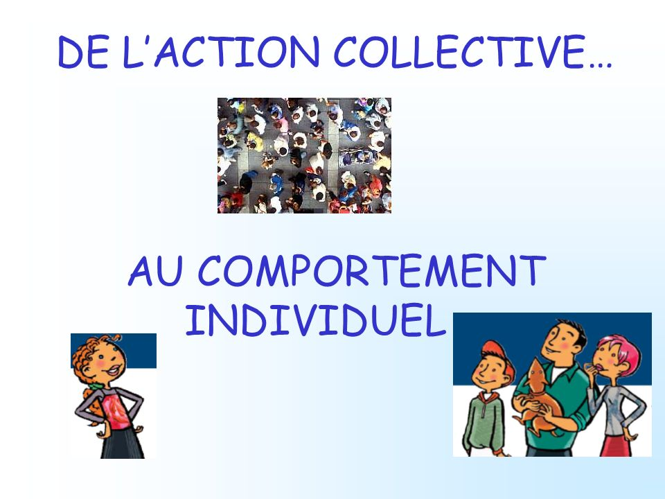 DE LACTION COLLECTIVE… AU COMPORTEMENT INDIVIDUEL …