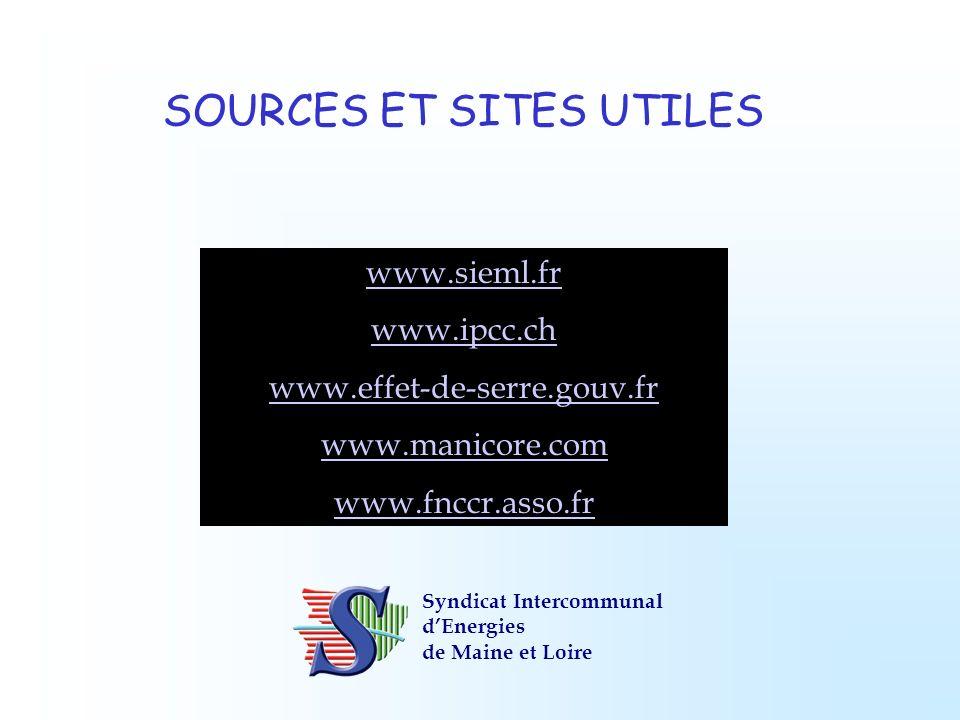 SOURCES ET SITES UTILES www.sieml.fr www.ipcc.ch www.effet-de-serre.gouv.fr www.manicore.com www.fnccr.asso.fr Syndicat Intercommunal dEnergies de Mai