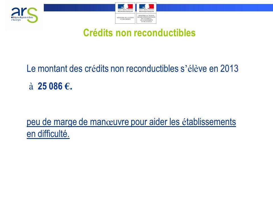 Crédits non reconductibles Le montant des cr é dits non reconductibles s é l è ve en 2013 à 25 086.