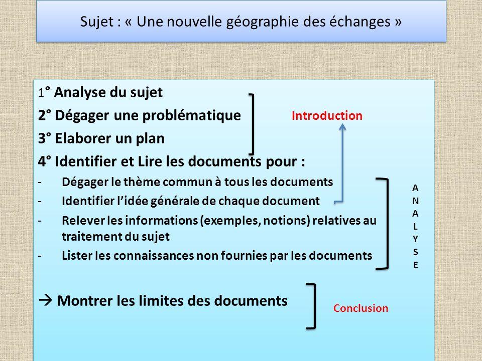 Sujet : « Une nouvelle géographie des échanges » 1 ° Analyse du sujet 2° Dégager une problématique Introduction 3° Elaborer un plan 4° Identifier et L