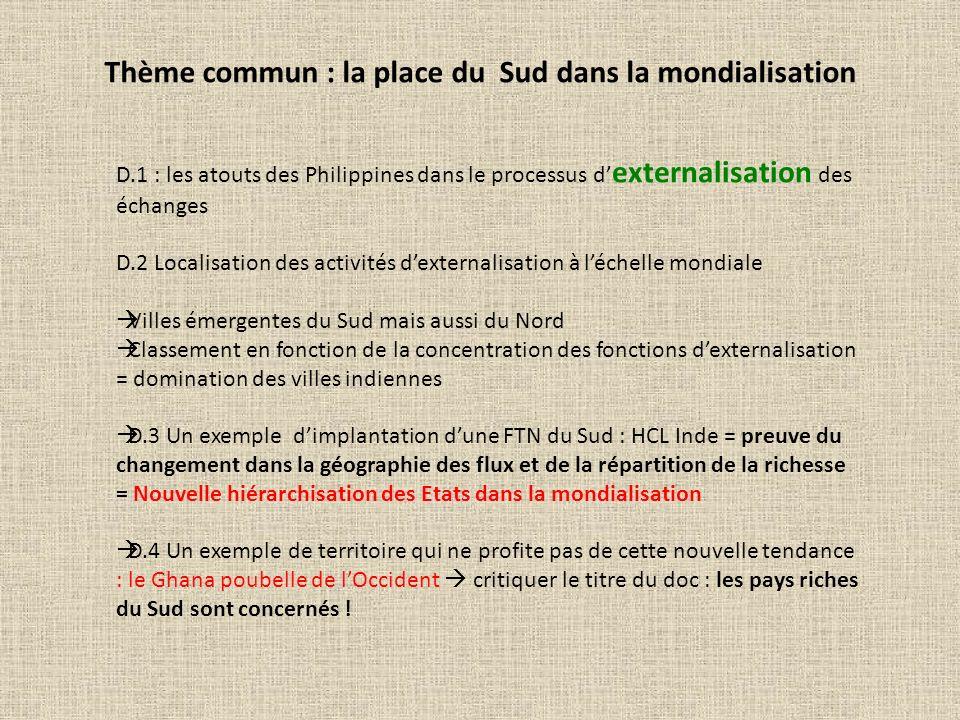 Thème commun : la place du Sud dans la mondialisation D.1 : les atouts des Philippines dans le processus d externalisation des échanges D.2 Localisati