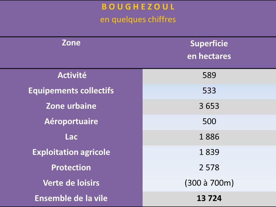 B O U G H E Z O U L en quelques chiffres Zone Superficie en hectares Activité589 Equipements collectifs533 Zone urbaine3 653 Aéroportuaire500 Lac1 886
