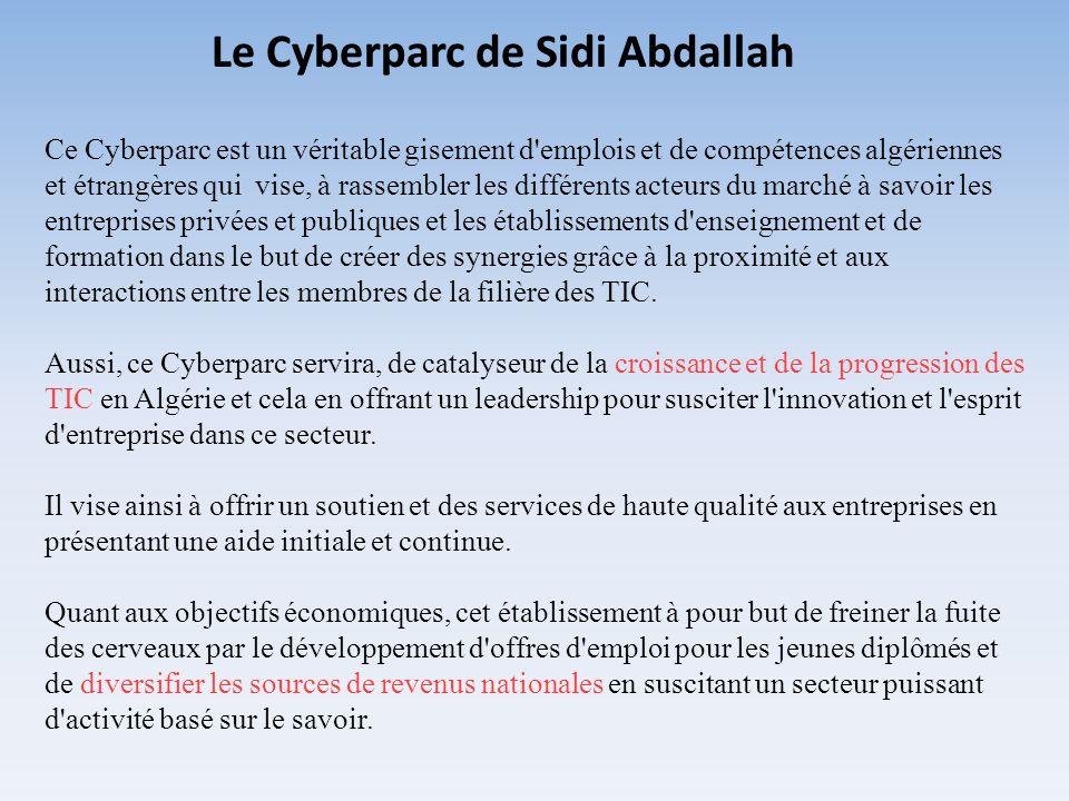 Ce Cyberparc est un véritable gisement d'emplois et de compétences algériennes et étrangères qui vise, à rassembler les différents acteurs du marché à