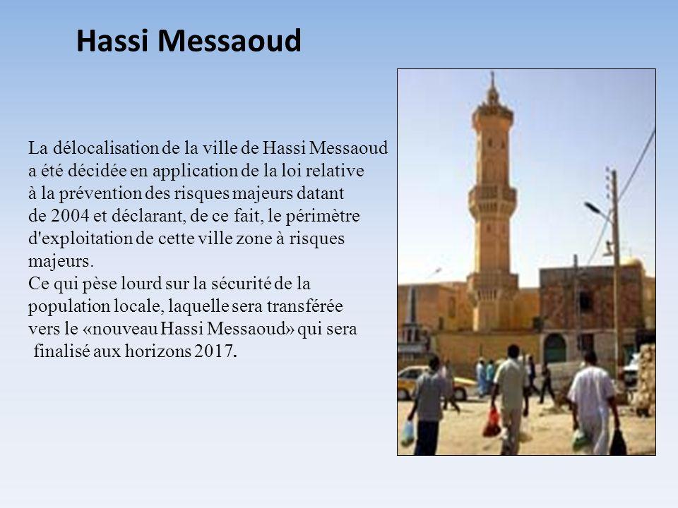 La délocalisation de la ville de Hassi Messaoud a été décidée en application de la loi relative à la prévention des risques majeurs datant de 2004 et