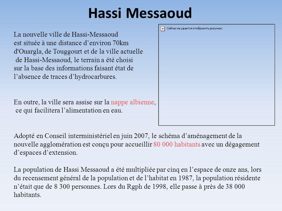 La nouvelle ville de Hassi-Messaoud est située à une distance denviron 70km d'Ouargla, de Touggourt et de la ville actuelle de Hassi-Messaoud, le terr