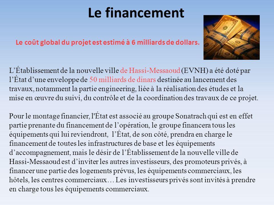 Le coût global du projet est estimé à 6 milliards de dollars. LÉtablissement de la nouvelle ville de Hassi-Messaoud (EVNH) a été doté par lÉtat dune e