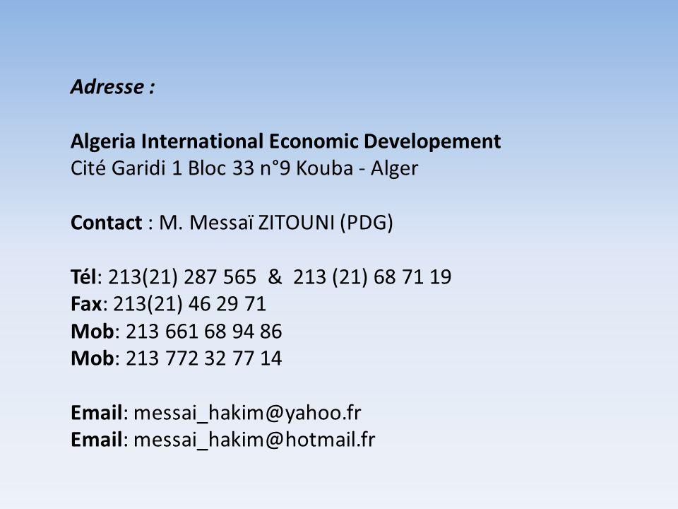 Adresse : Algeria International Economic Developement Cité Garidi 1 Bloc 33 n°9 Kouba - Alger Contact : M. Messaï ZITOUNI (PDG) Tél: 213(21) 287 565 &