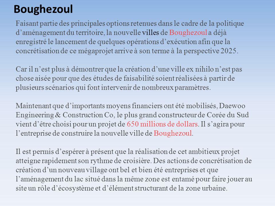 Faisant partie des principales options retenues dans le cadre de la politique daménagement du territoire, la nouvelle villes de Boughezoul a déjà enre
