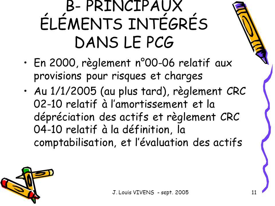 J. Louis VIVENS - sept. 200511 B- PRINCIPAUX ÉLÉMENTS INTÉGRÉS DANS LE PCG En 2000, règlement n°00-06 relatif aux provisions pour risques et charges A