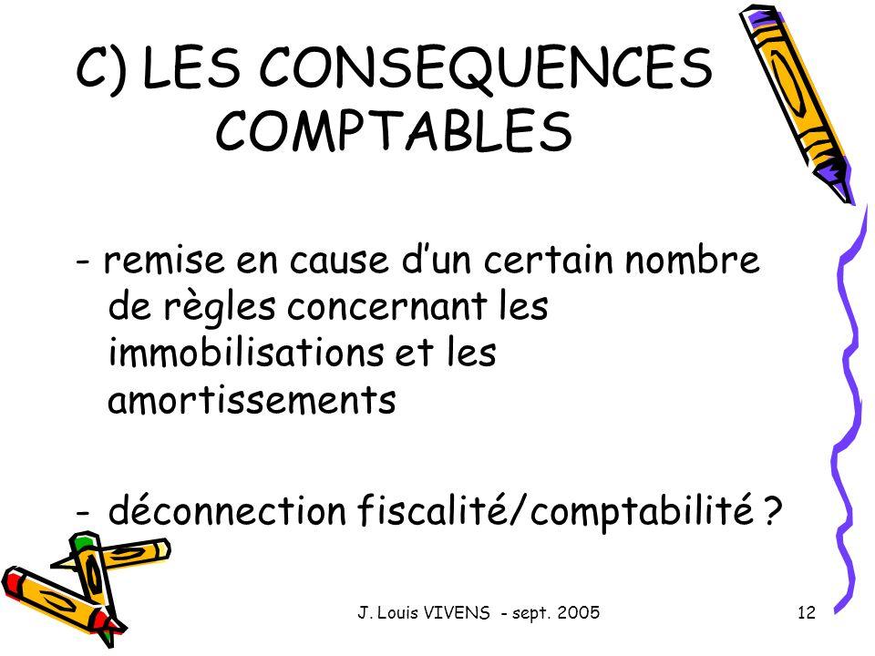 J. Louis VIVENS - sept. 200512 C) LES CONSEQUENCES COMPTABLES - remise en cause dun certain nombre de règles concernant les immobilisations et les amo