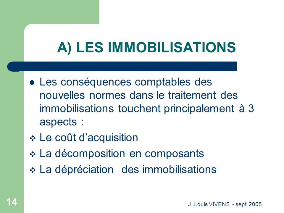J. Louis VIVENS - sept. 2005 14 A) LES IMMOBILISATIONS Les conséquences comptables des nouvelles normes dans le traitement des immobilisations touchen