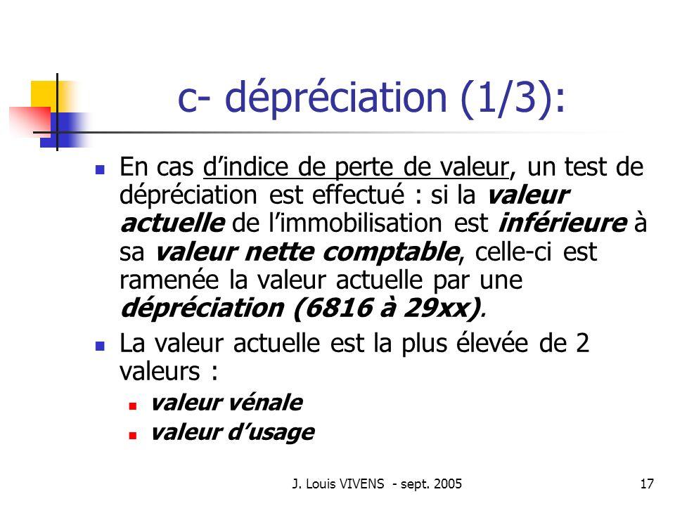 J. Louis VIVENS - sept. 200517 c- dépréciation (1/3): En cas dindice de perte de valeur, un test de dépréciation est effectué : si la valeur actuelle
