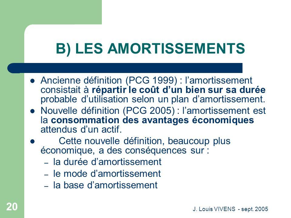 J. Louis VIVENS - sept. 2005 20 B) LES AMORTISSEMENTS Ancienne définition (PCG 1999) : lamortissement consistait à répartir le coût dun bien sur sa du