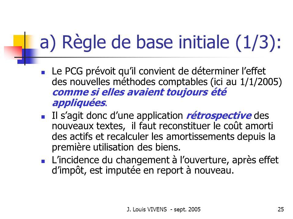 J. Louis VIVENS - sept. 200525 a) Règle de base initiale (1/3): Le PCG prévoit quil convient de déterminer leffet des nouvelles méthodes comptables (i