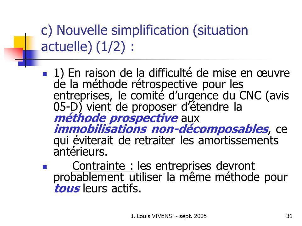 J. Louis VIVENS - sept. 200531 c) Nouvelle simplification (situation actuelle) (1/2) : 1) En raison de la difficulté de mise en œuvre de la méthode ré
