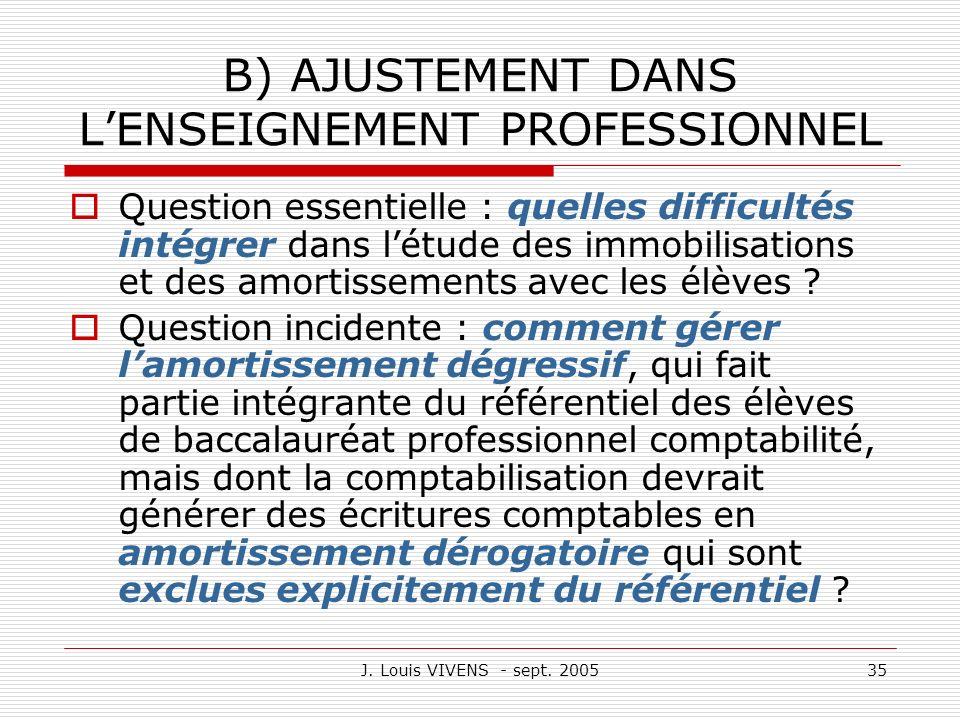 J. Louis VIVENS - sept. 200535 B) AJUSTEMENT DANS LENSEIGNEMENT PROFESSIONNEL Question essentielle : quelles difficultés intégrer dans létude des immo