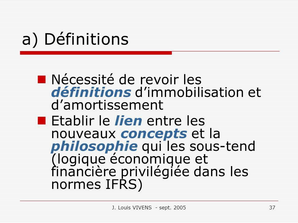 J. Louis VIVENS - sept. 200537 a) Définitions Nécessité de revoir les définitions dimmobilisation et damortissement Etablir le lien entre les nouveaux