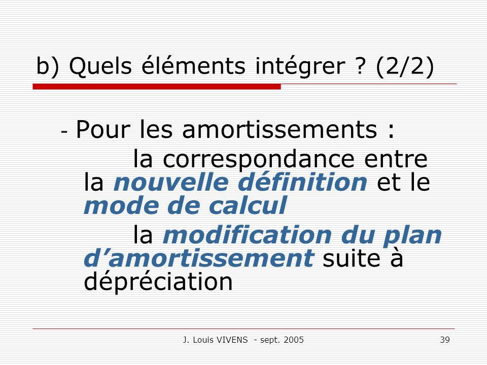 J. Louis VIVENS - sept. 200539 b) Quels éléments intégrer ? (2/2) - Pour les amortissements : la correspondance entre la nouvelle définition et le mod
