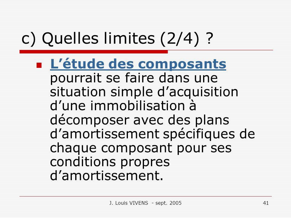 J. Louis VIVENS - sept. 200541 c) Quelles limites (2/4) ? Létude des composants pourrait se faire dans une situation simple dacquisition dune immobili