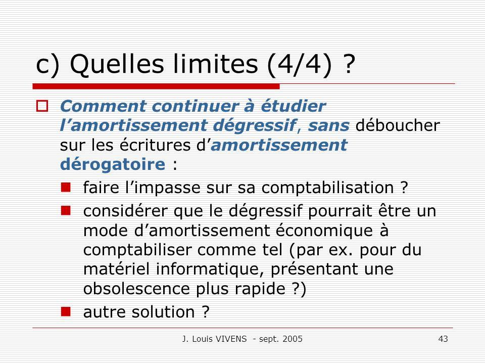 J. Louis VIVENS - sept. 200543 c) Quelles limites (4/4) ? Comment continuer à étudier lamortissement dégressif, sans déboucher sur les écritures damor