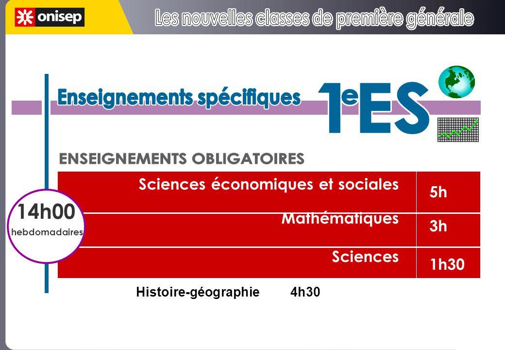 5h 3h 1h30 Sciences économiques et sociales Mathématiques Sciences hkkkhihhhhhhhhScihhhhhhhences hishhhh 14h00 hebdomadaires Histoire-géographie4h30