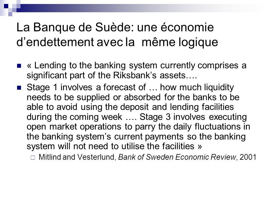 La Banque de Suède: une économie dendettement avec la même logique « Lending to the banking system currently comprises a significant part of the Riksb