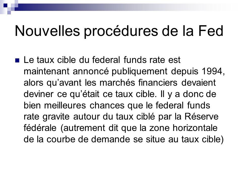 Nouvelles procédures de la Fed Le taux cible du federal funds rate est maintenant annoncé publiquement depuis 1994, alors quavant les marchés financie