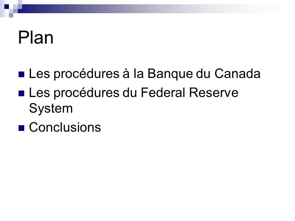 Plan Les procédures à la Banque du Canada Les procédures du Federal Reserve System Conclusions