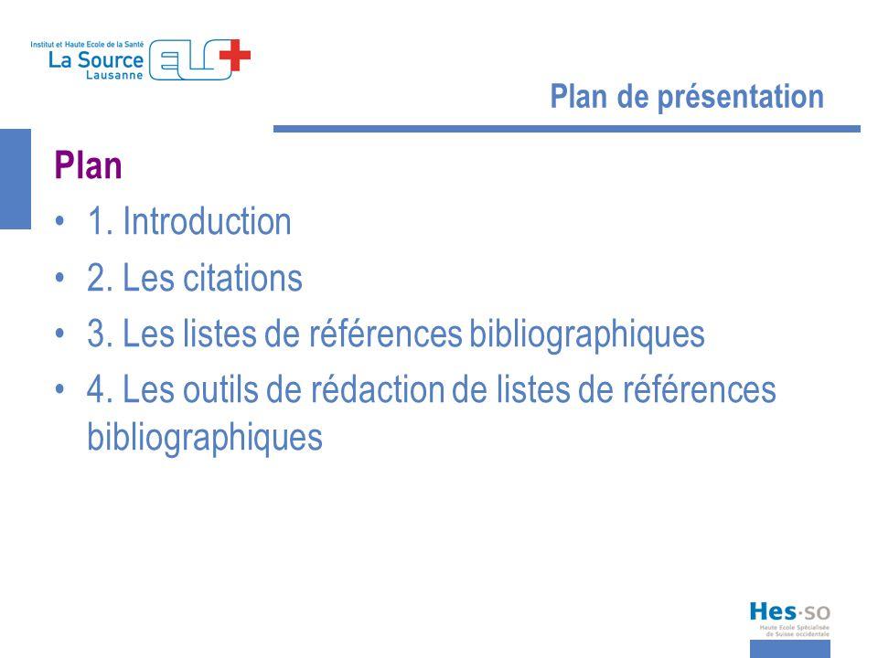 Plan de présentation Plan 1. Introduction 2. Les citations 3. Les listes de références bibliographiques 4. Les outils de rédaction de listes de référe