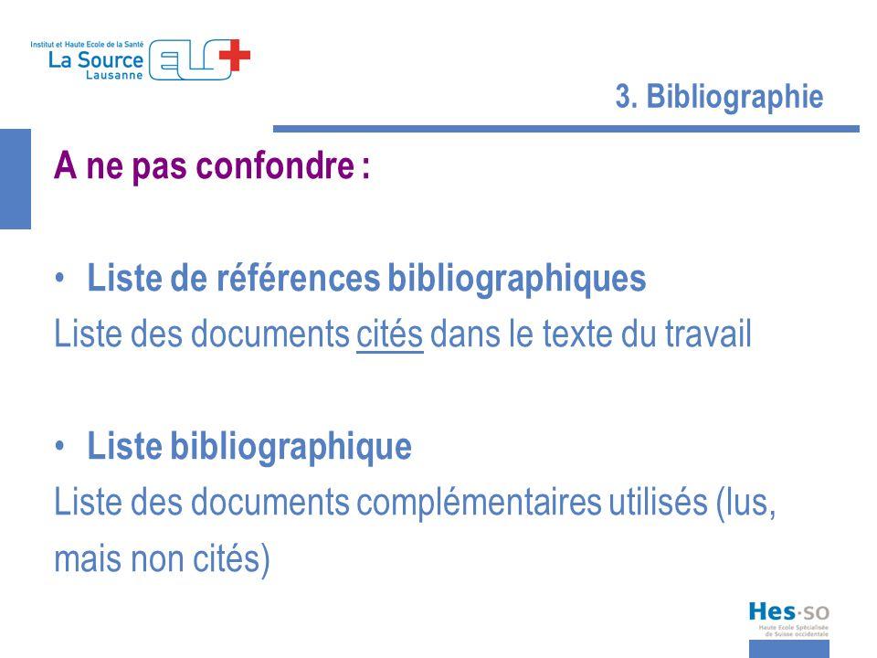 3. Bibliographie A ne pas confondre : Liste de références bibliographiques Liste des documents cités dans le texte du travail Liste bibliographique Li