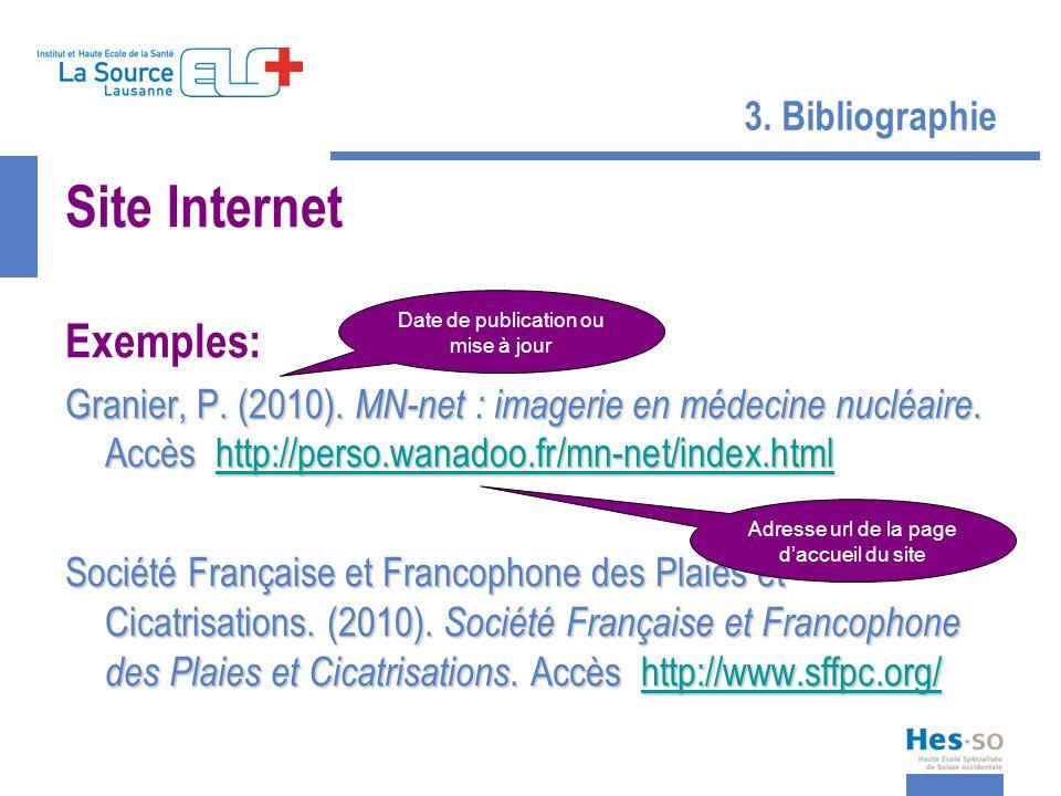 3. Bibliographie Site Internet Exemples: Granier, P. (2010). MN-net : imagerie en médecine nucléaire. Accès http://perso.wanadoo.fr/mn-net/index.html